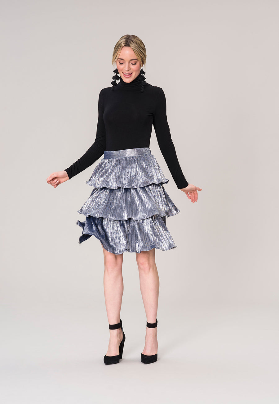 Kate Tiered Skirt in Slate Metallic Crinkle