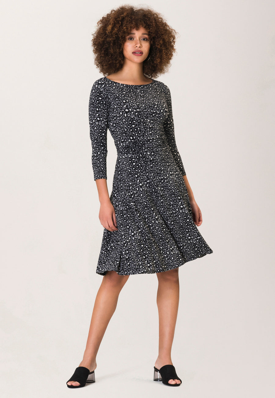 Ruched Waist Ilana  A-Line Dress in Leopard Small Quiet Shade Grey