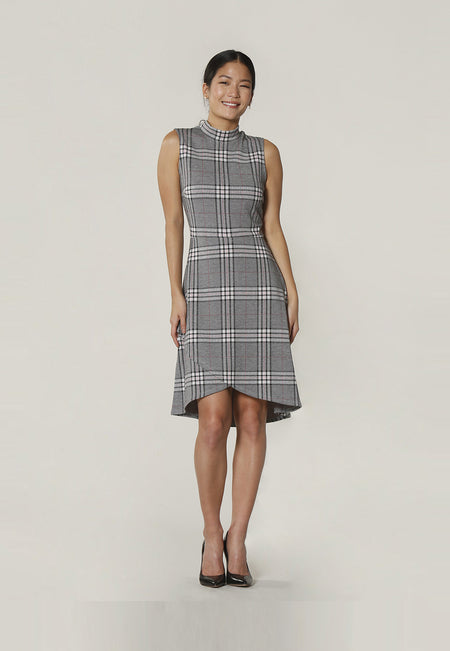 Alyssa A-line Dress in Classic Plaid Grey