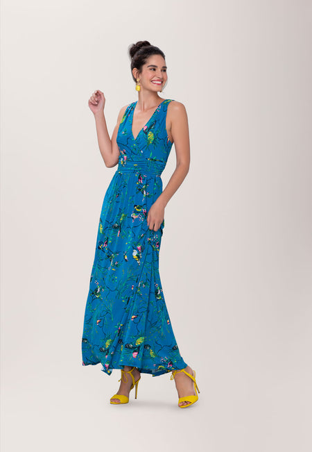 Athena Maxi Dress in Chirp Mykonos Blue