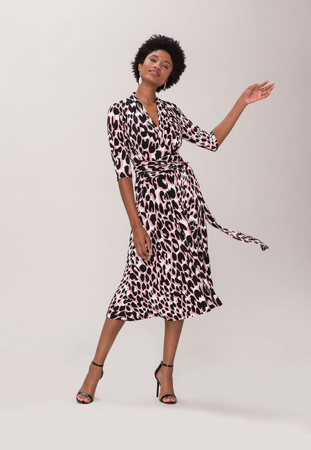 Mahlia Dress in Painted Leopard Rose