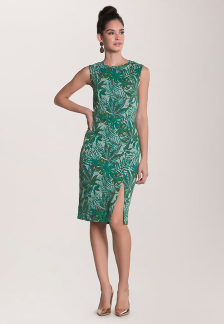 Nora  Fitted Dress in Jungle Jacquard Green
