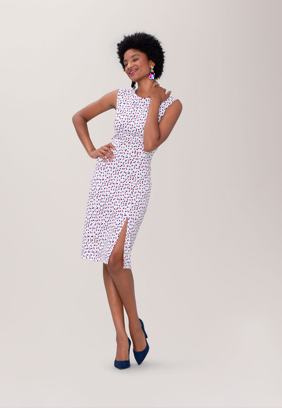 Nora  Fitted Dress in Twilight Dot Marshmallow Cabaret White