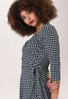 Sweetheart Wrap A-Line Dress in Houndstooth Black