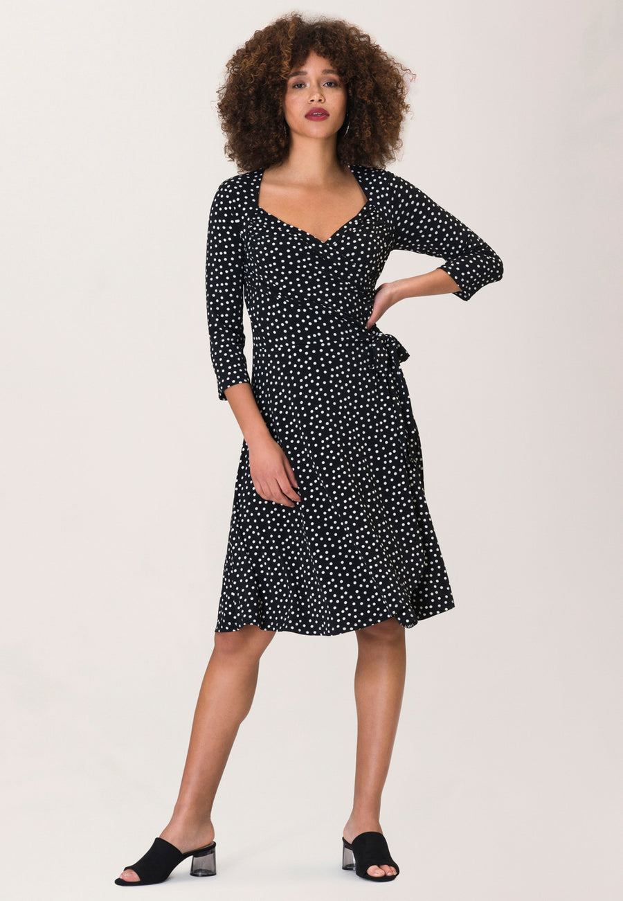 Sweetheart Wrap Dress in Marshmallow Confetti Dot