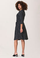 Sweetheart Wrap A-Line Dress in Marshmallow Confetti Dot