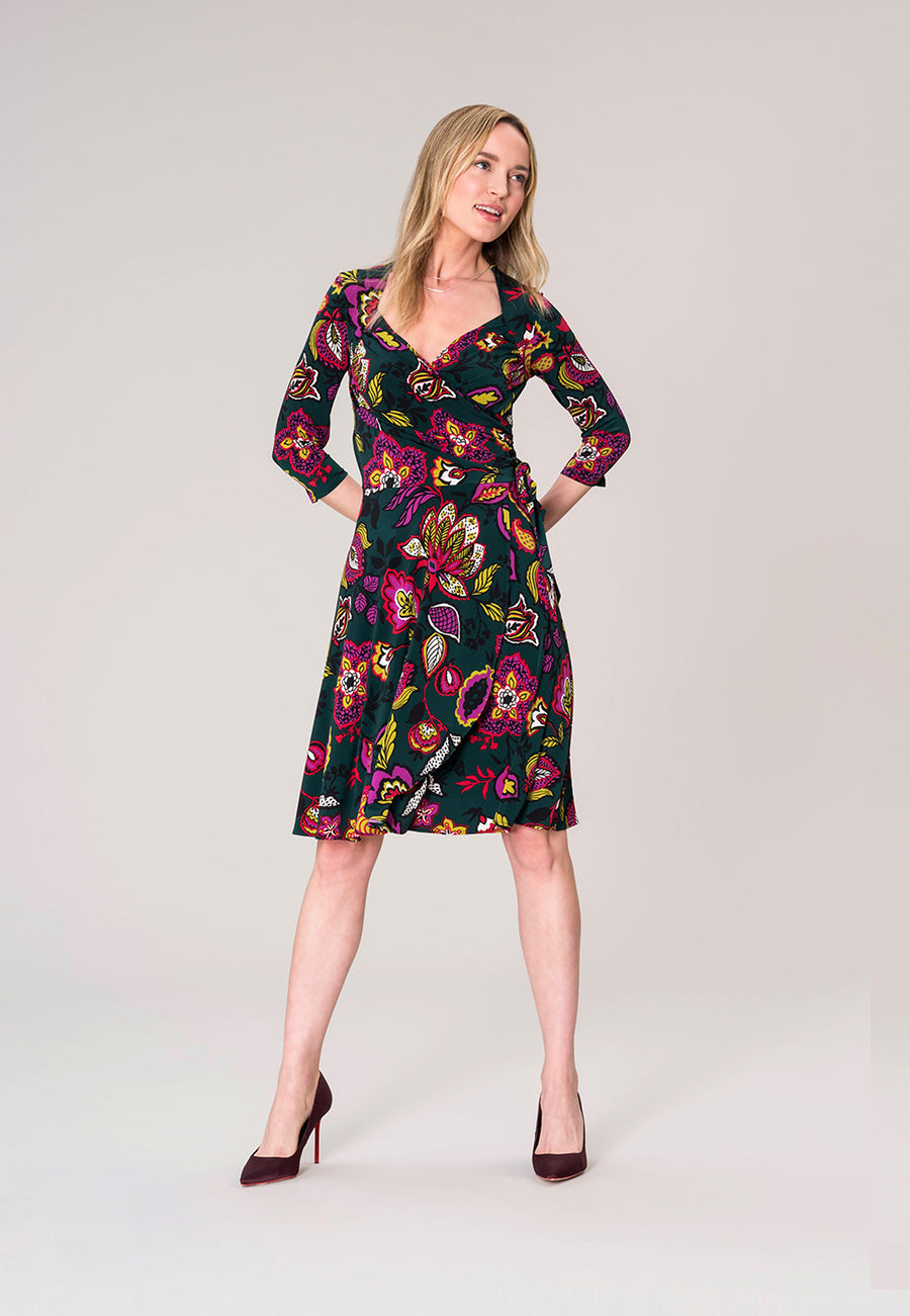 Sweetheart Wrap A-Line Dress in Tapestry Green