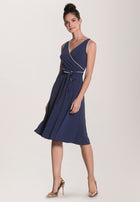 Justine Sleeveless Wrap  Dress in Navy Piped Classics Blue