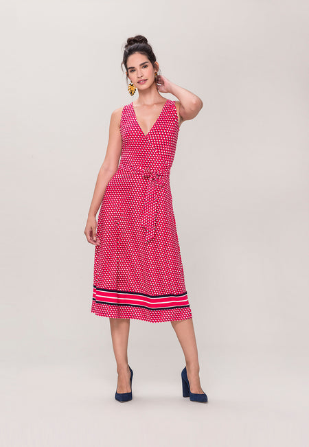 Justine Wrap Dress in Shadow Dot Pink (Curve)