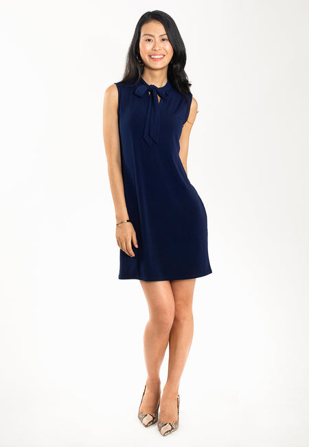 Sage Bowtie Dress in Classic Navy Crepe