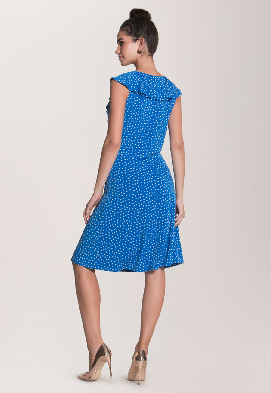 Chloe Short Sleeve  A-Line Dress in Confetti Dot Nebulas Blue