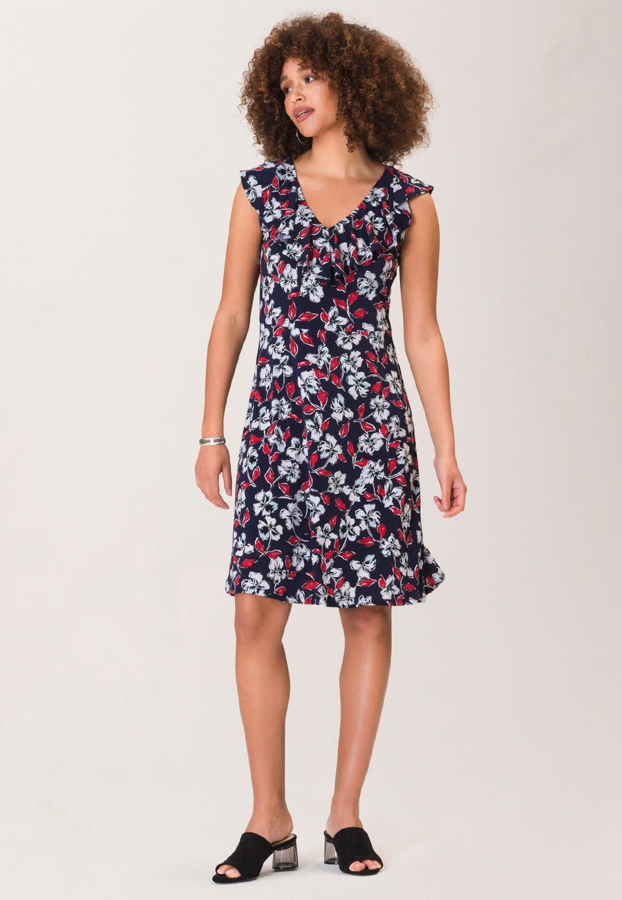 Chloe A-Line Dress in Marina Classic Navy Blue