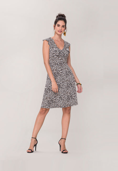 Chloe A-Line Dress in Cheetah Ginger Root Brown