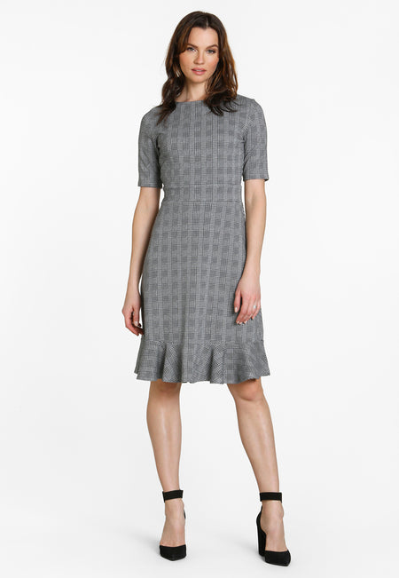 Gia Dress in Glen Plaid Black Grey