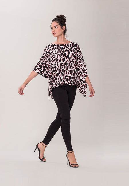 Kimono Caftan Top in Painted Leopard Rose