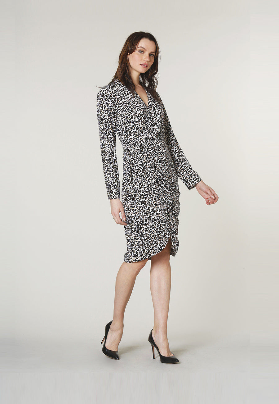 Vayda Wrap Dress in Cheetah Ginger Root Brown