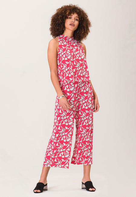 Skyler Cropped Jumpsuit  in Amazonia Floral Pink