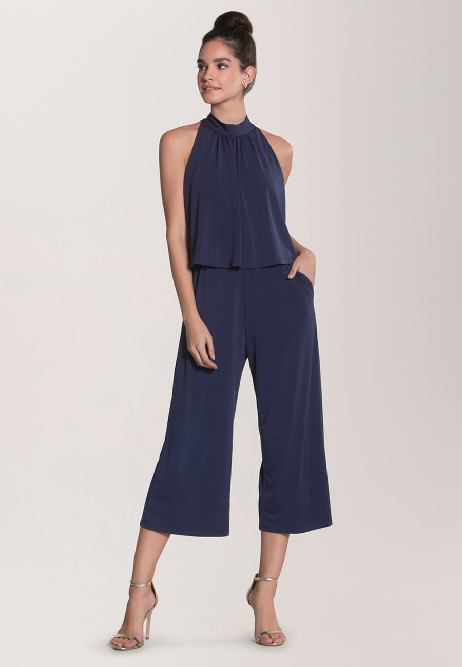 Skyler Cropped Jumpsuit  in Classic Navy Essential Jersey Blue