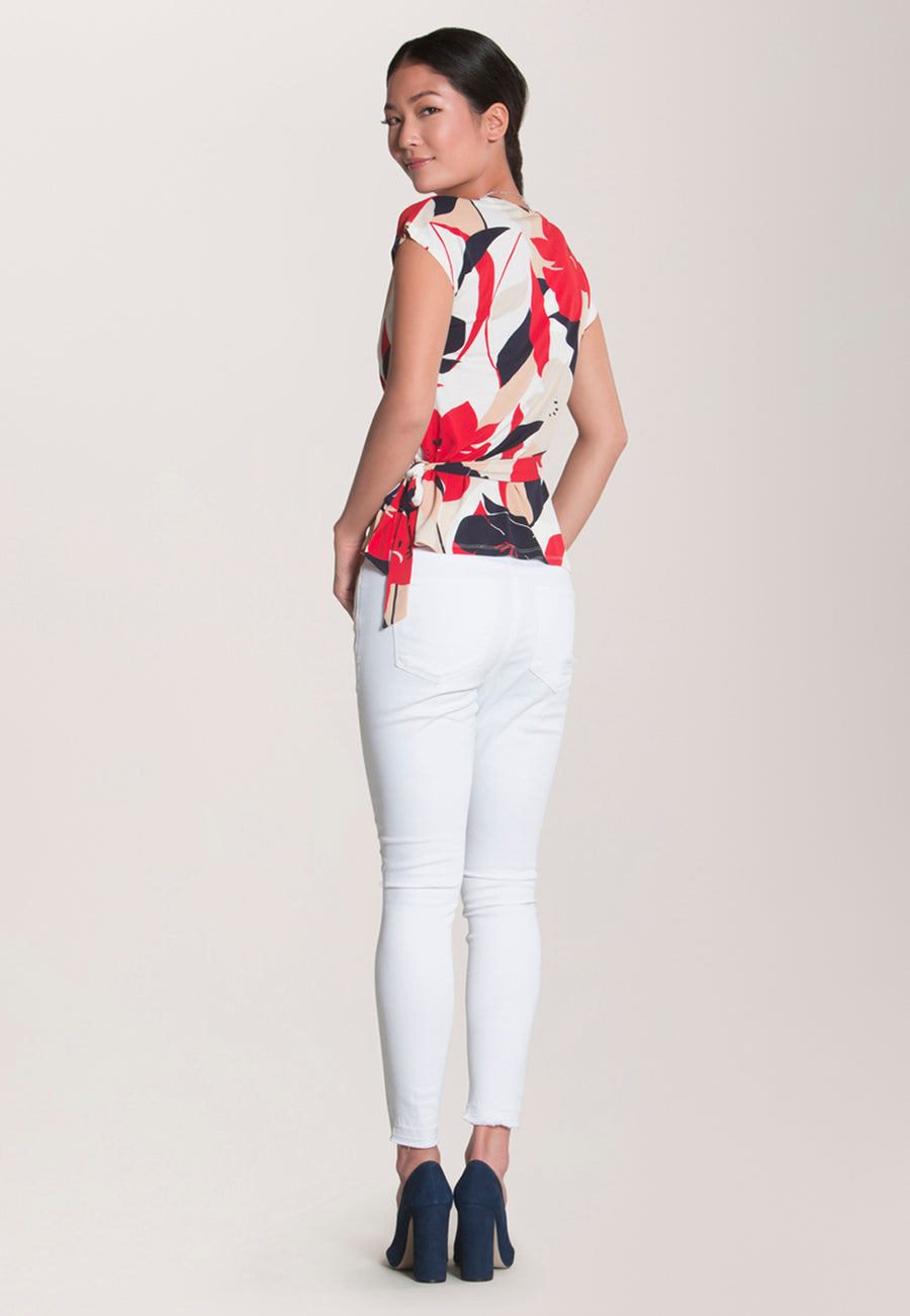 Celine Cap Sleeve Top in Nautique Floral (Curve)