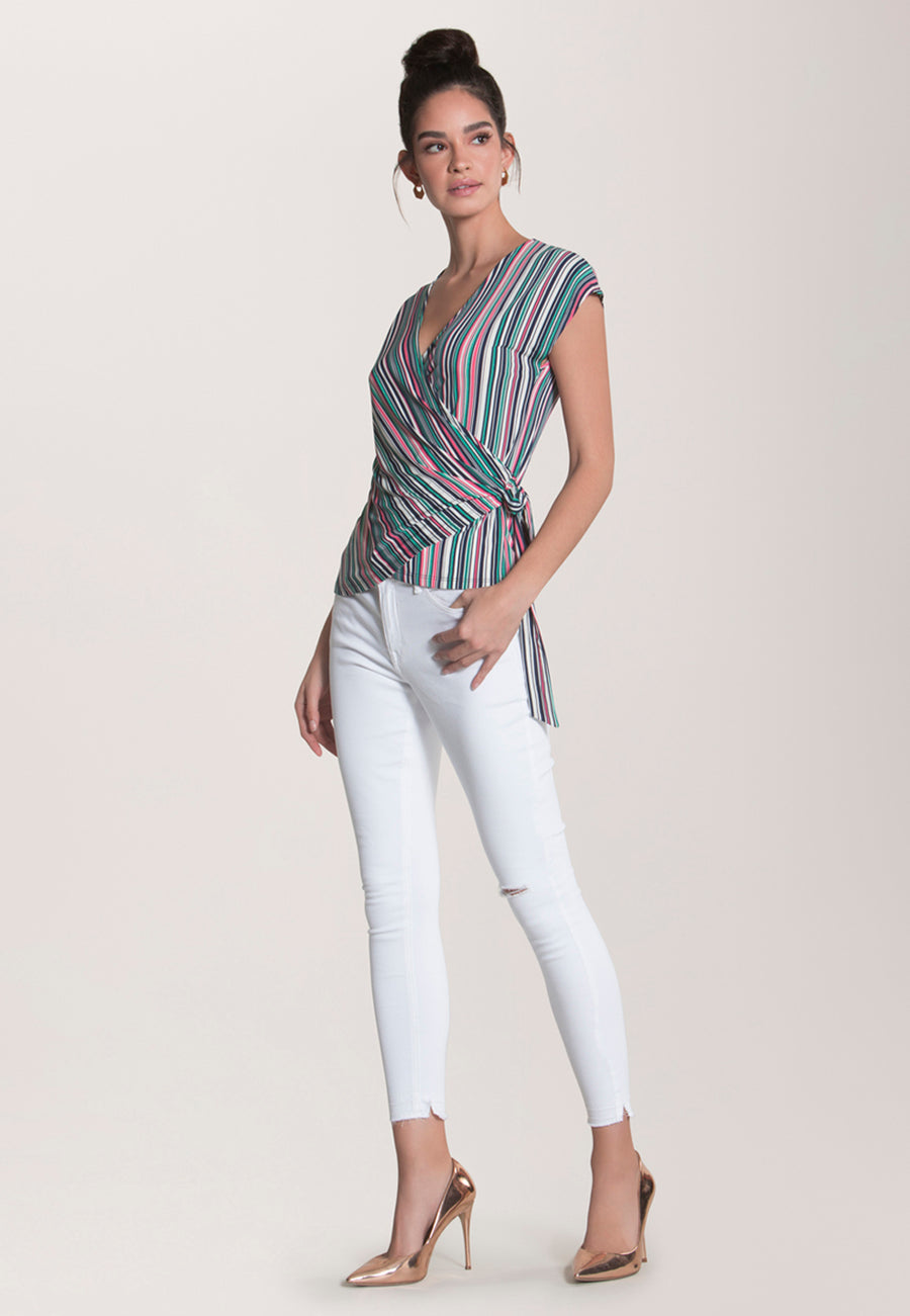 Celine Cap Sleeve  Wrap Top in Multi Stripe Camellia Rose Pink