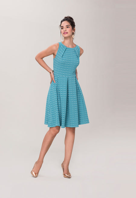 Anita A-Line Dress in Belissimo Jacquard Blue