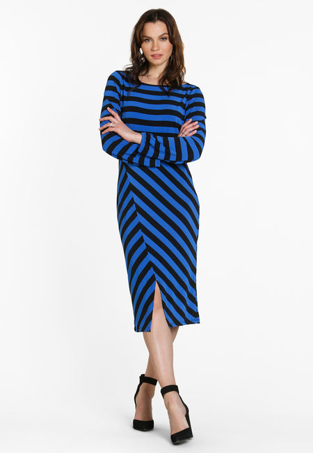 Tiana Pieced  Midi Dress in Bold Strip Blue