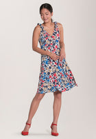 Bria Tie Shoulder A-Line Dress in Patchwork Blue