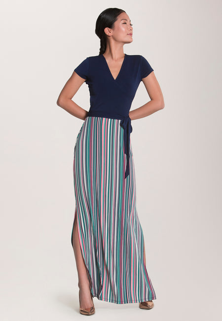 Cap Sleeve Perfect Wrap Maxi in Multi Stripe Camellia Rose
