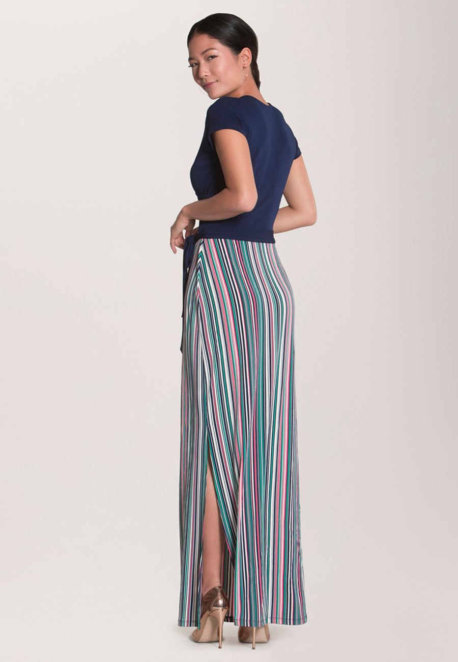 Cap Sleeve Circle  Wrap Dress in Multi Stripe Camellia Rose Pink