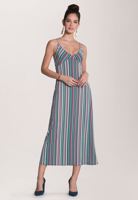 9382fa866460 Catalina Slip Dress in Multi Stripe Camellia Rose
