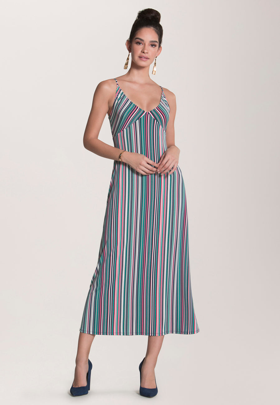 Catalina Slip Dress  in Multi Stripe Camellia Rose Pink