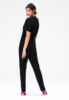 Michaela Jumpsuit in Moss Crepe Black