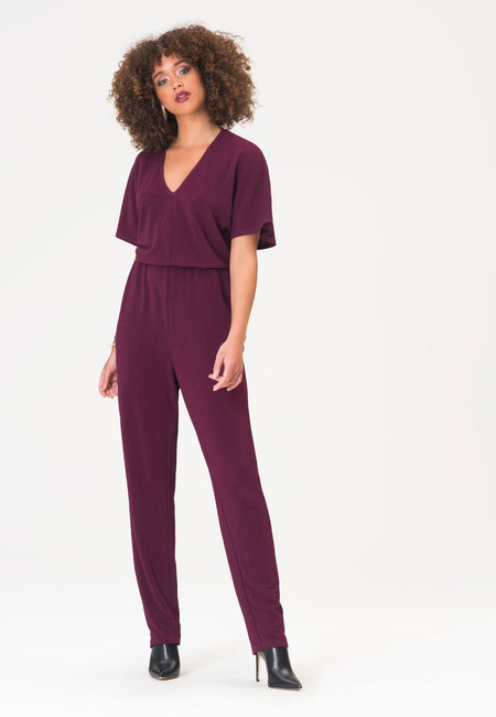 Michaela Jumpsuit in Textured Crepe Dark Purple