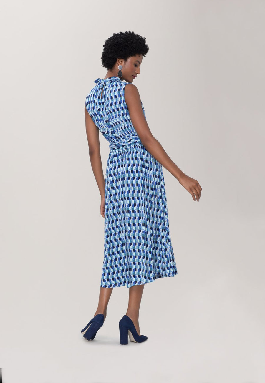 Mindy Shirred  Midi Dress in Mod Geo Blue