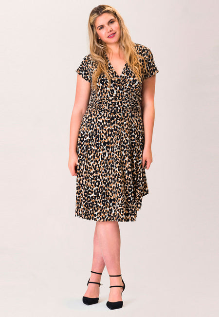 Amiya Dress in Leo Ginger Root (Curve)