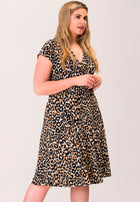 Amiya Wrap Dress in Leo Ginger Root Brown (Curve)