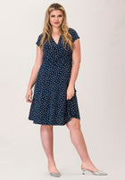 Amiya Wrap Dress in Twilight Dot Classic Navy Blue (Curve)