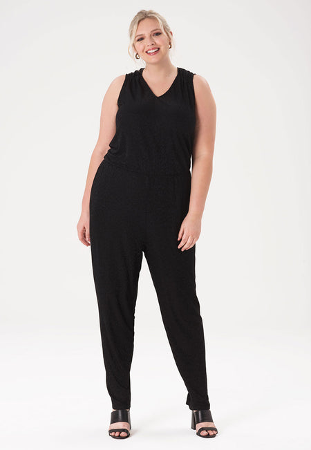 Kennedy Jumpsuit in Tonal Cheetah Black (Curve)