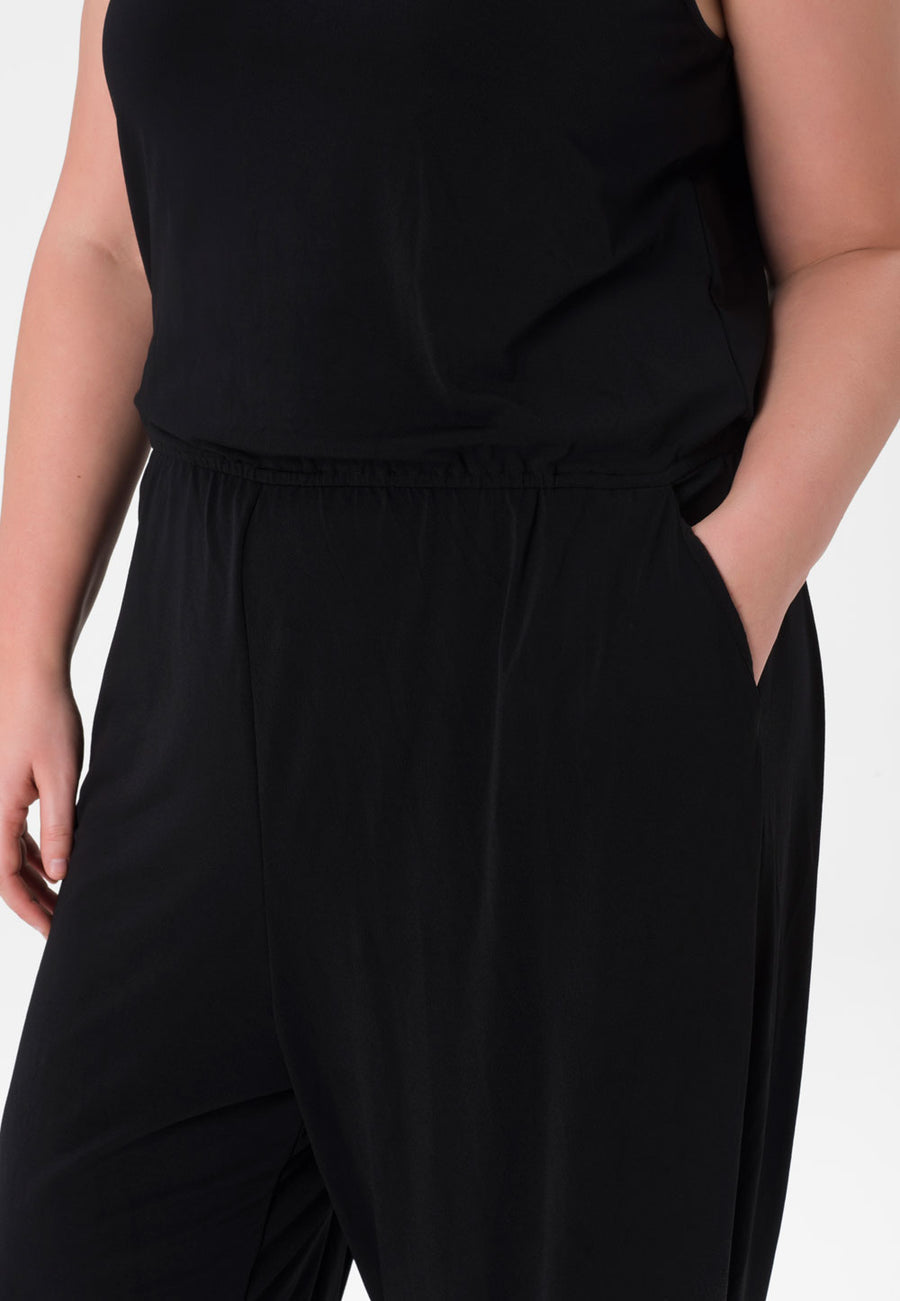 Kennedy Jumpsuit  in Black Crepe Knit (Curve)
