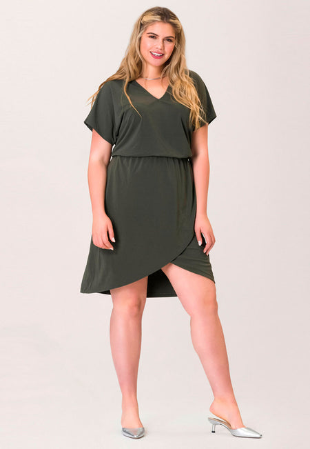 Angelina A-Line Dress in Crepe Knit Peat Moss Green (Curve)