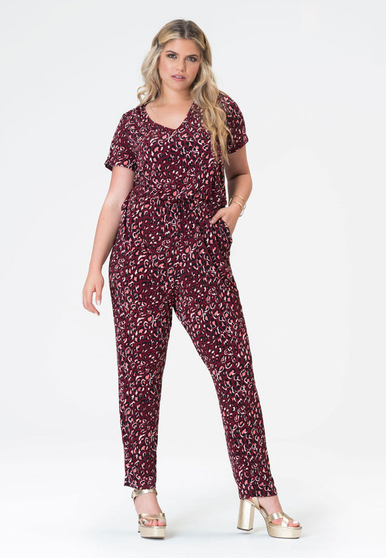 Kennedy Cap Sleeve Jumpsuit in Bold Cheetah Cabaret (Curve)