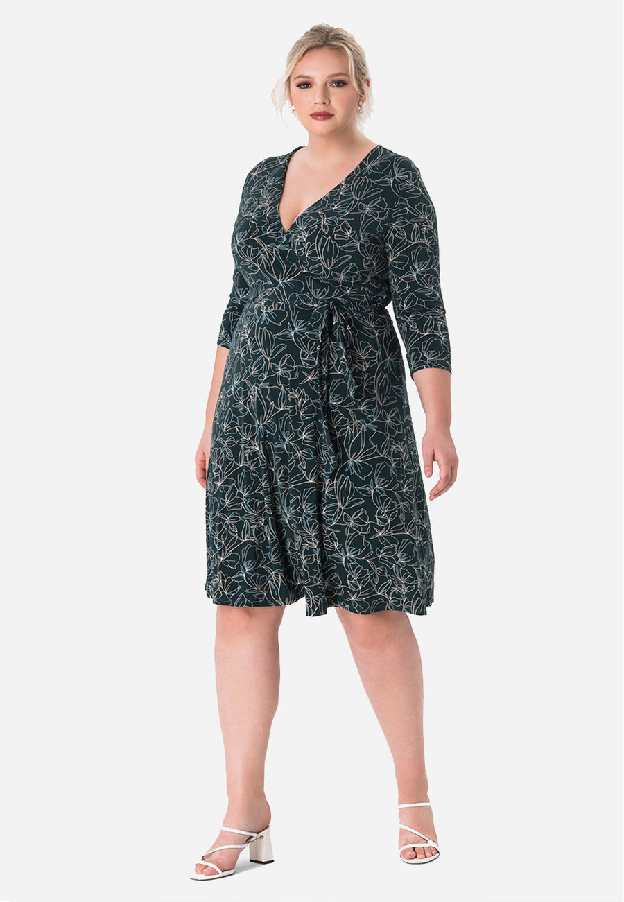 Leota Perfect Wrap Dress in Ponderosa Pine (Curve)