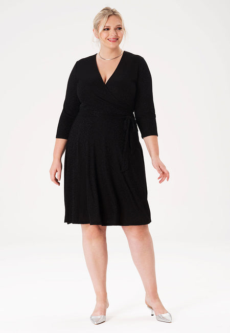 Perfect Wrap Dress in Tonal Cheetah Black (Curve)