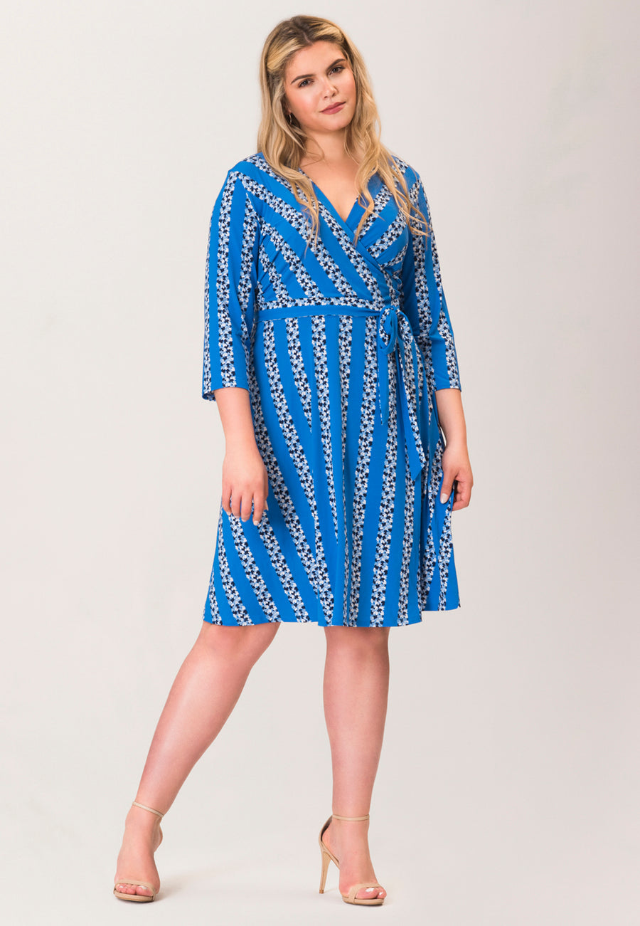 Perfect Wrap Dress  in Floral Stripe Blue (Curve)