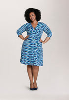 Perfect Wrap Dress in Mod Geo (Curve)