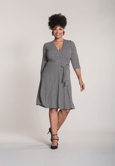 Perfect Wrap Dress in Herringbone (Curve)