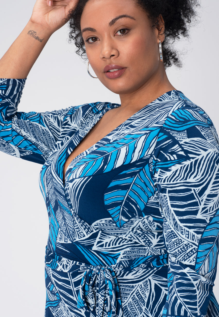 Perfect Wrap Dress in Tropical Leaves Blue