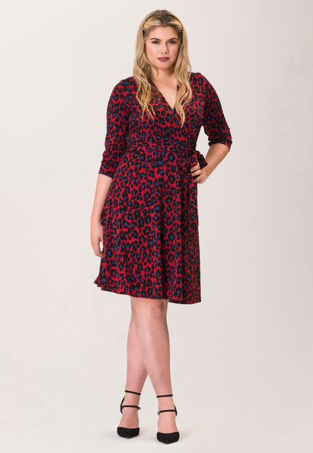 Perfect Wrap Dress  in Wild Cat Chili Pepper Red (Curve)