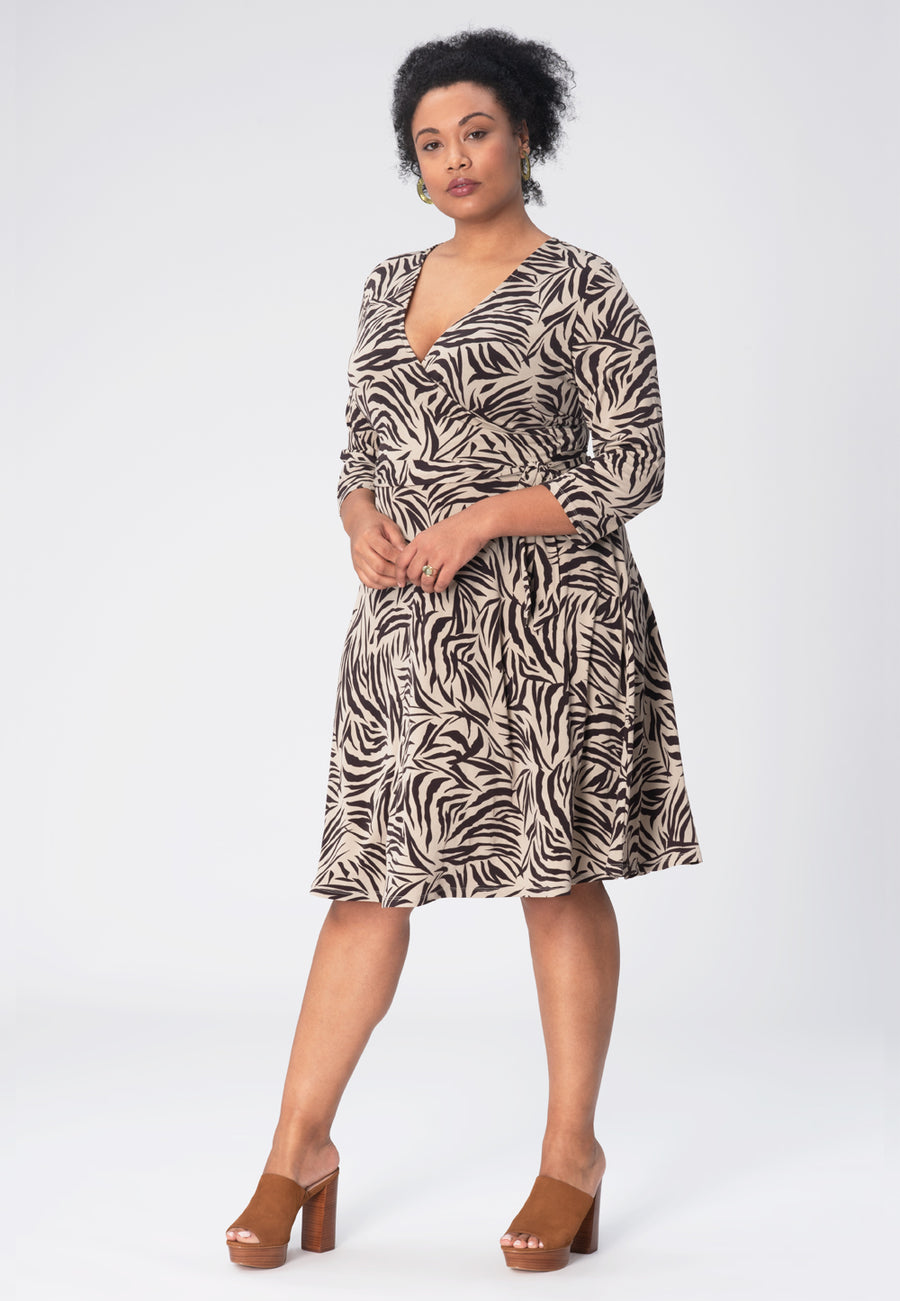 Perfect Wrap Dress in Zebra Safari