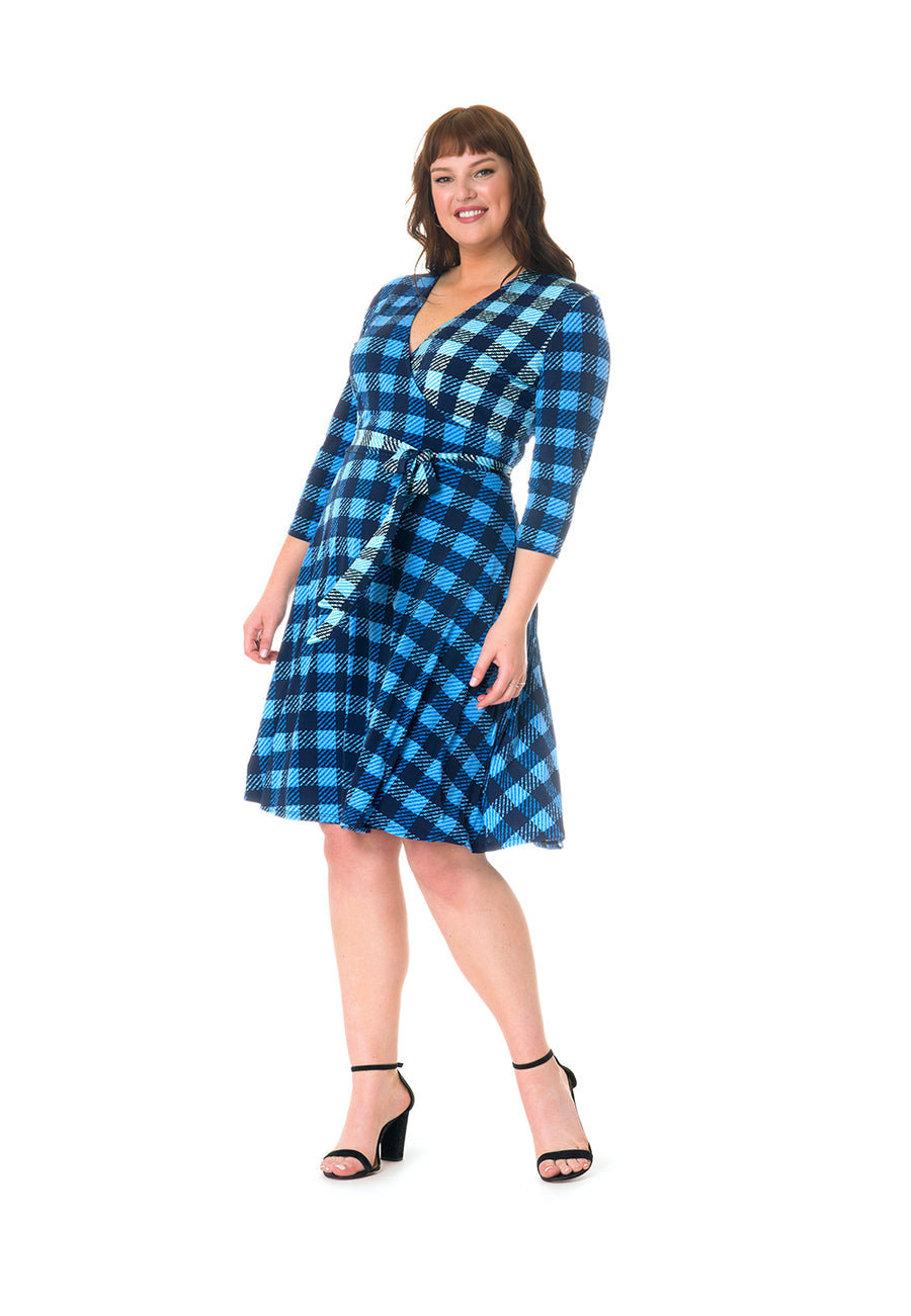 Perfect Wrap Dress in Check (Curve)